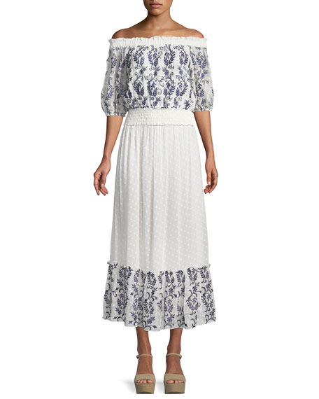 Darcia Embroidered Flounce Maxi Skirt