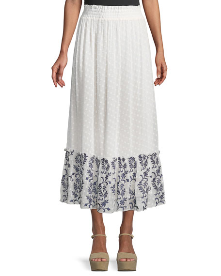 MISA Los Angeles Darcia Embroidered Flounce Maxi Skirt