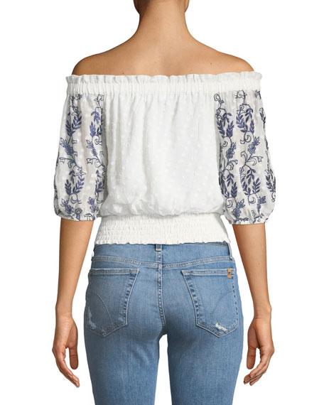 Ingrid Off-the-Shoulder Embroidered Crop Top