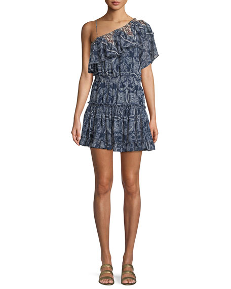 MISA Los Angeles Ezri Off-the-Shoulder Printed Mini Dress