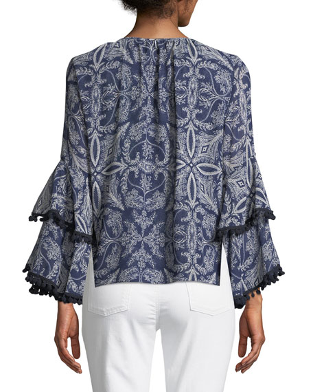 Maya Scroll-Print Bell-Sleeve Top