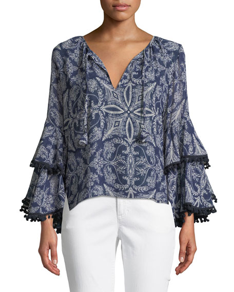 MISA Los Angeles Maya Scroll-Print Bell-Sleeve Top