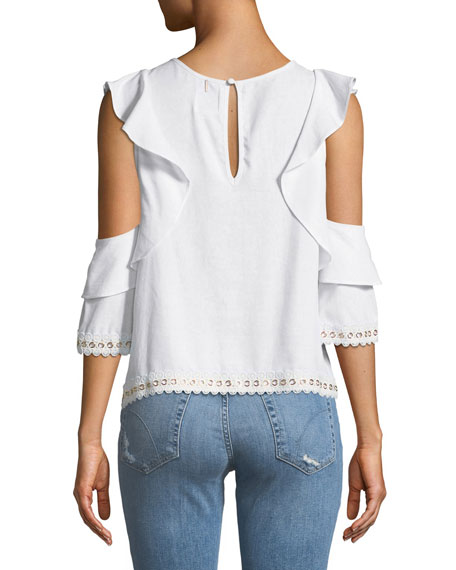 Aline Cold-Shoulder Blouse with Grommet Trim