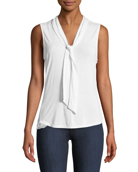 Elie Tahari Lorde Knit Neck-Tie Top
