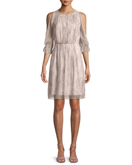 Luciana Georgette Cold-Shoulder Dress