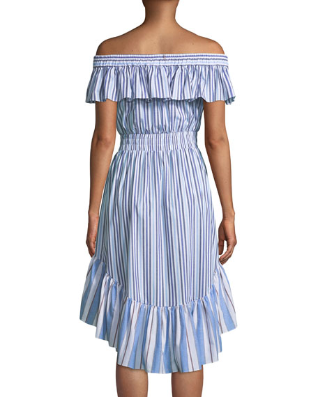 Marin Striped Off-the-Shoulder High-Low Dress