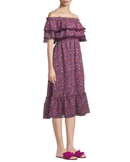 Maribel Off-the-Shoulder Chiffon Midi Dress