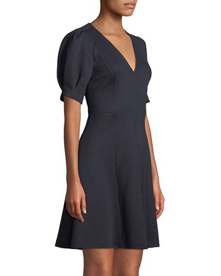 Short-Sleeve Stretch-Texture Dress