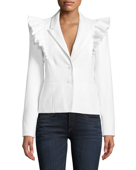 Rebecca Taylor Slub Suiting Ruffle-Shoulder Jacket