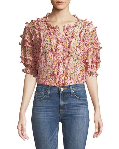 Short-Sleeve Floral-Print Ruffled Top