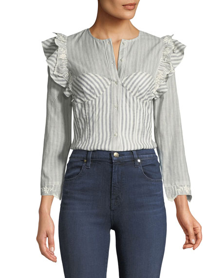 Long-Sleeve Striped Corset Top w/ Embroidery Trim