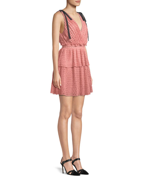 Sleeveless Organza Cutwork Mini Dress