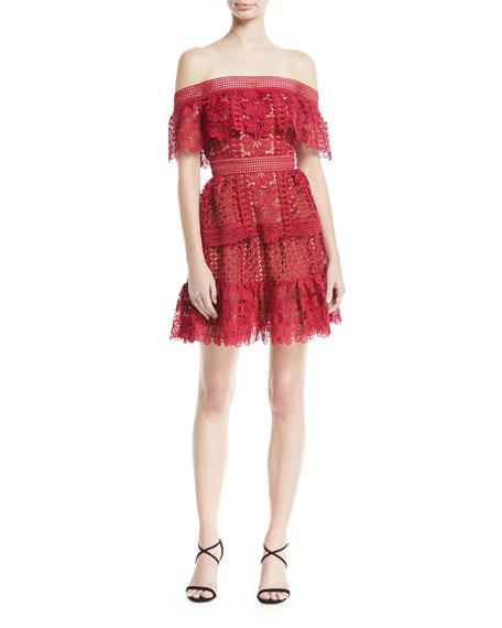 Off-the-Shoulder Floral Lace Guipure Mini Cocktail Dress