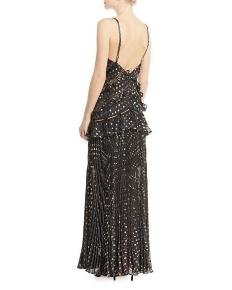 Metallic Chain-Strap Polka-Dot Pleated Maxi Dress