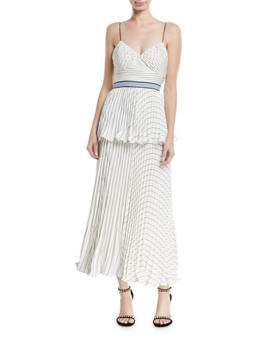 Monochrome Stripe Sleeveless Tiered Cocktail Dress