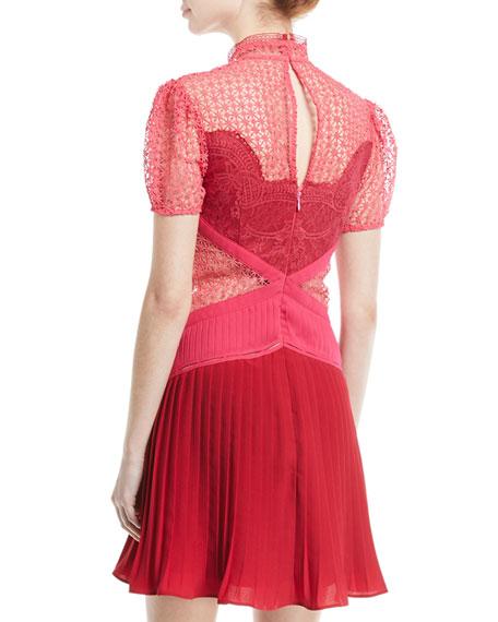 Paneled Lace Mixed-Media Mini Cocktail Dress