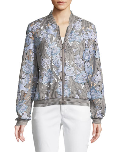Brandy Floral Lace Bomber Jacket