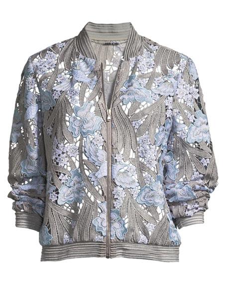 Brandy Floral Lace Bomber Jacket