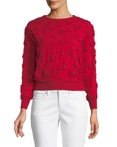 Roslyn Floral-Appliqué Sweater