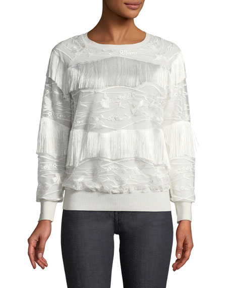 Elie Tahari Roslyn Fringed-Trim Sweater