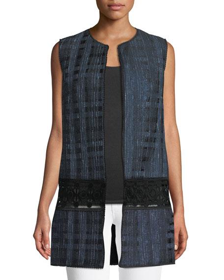 Elie Tahari Jaya Tonal Pattern Zip-Front Vest