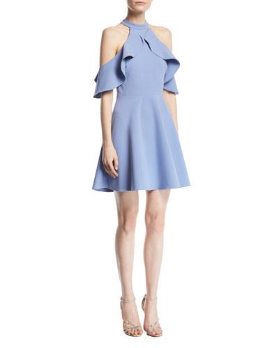 Lavelle Cold-Shoulder Ponte Fit-and-Flare Dress