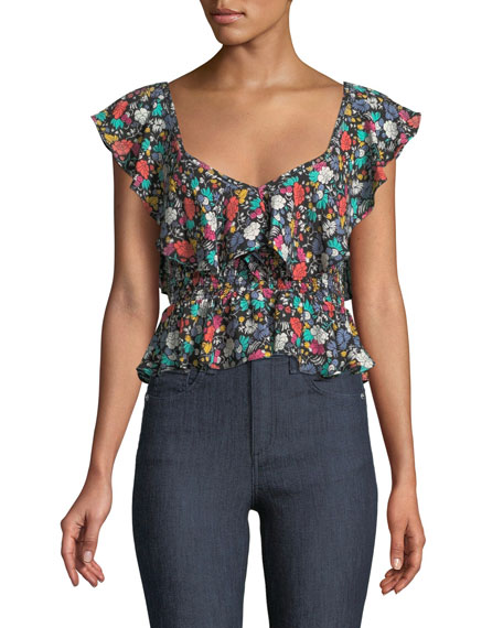 Likely Lavato Floral-Print Off-the-Shoulder Ruffle Top