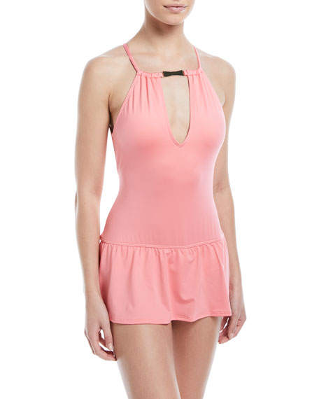 high-neck plunge keyhole swimdress