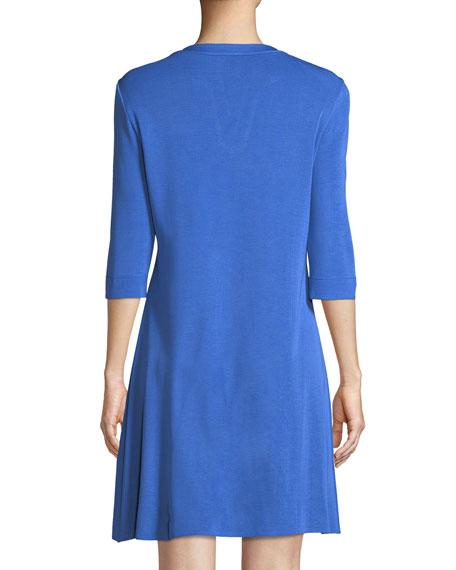 3/4-Sleeve Lace-Up Shift Dress