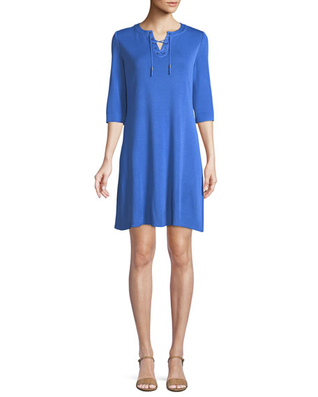 3/4-Sleeve Lace-Up Shift Dress
