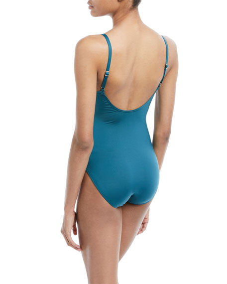 solid one-piece swimsuit with bow details