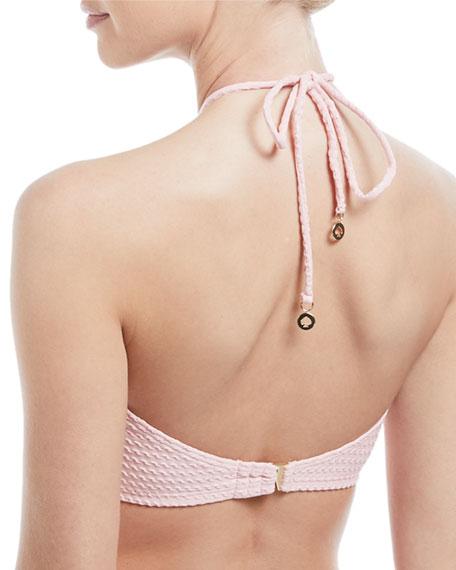 high-neck halter textured swim top