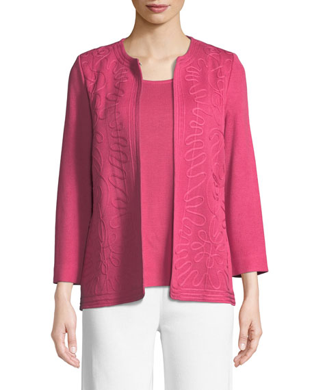 Misook Round-Neck Soutache Jacket