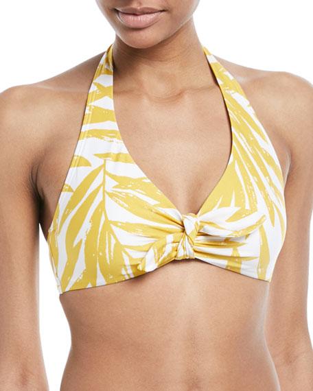 Carmen Marc Valvo Printed Halter Swim Top