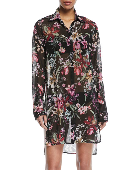 Floral-Print Sheer Button-Down Coverup Shirt