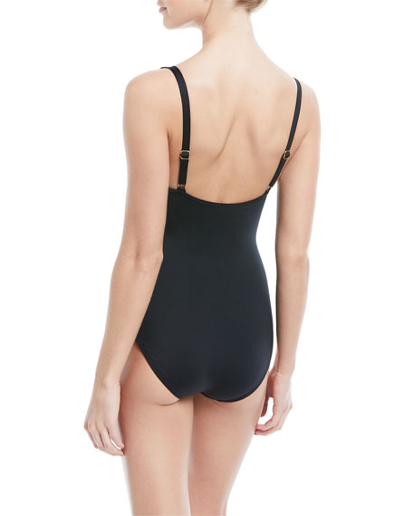 Knot-Front Solid One-Piece Swimsuit