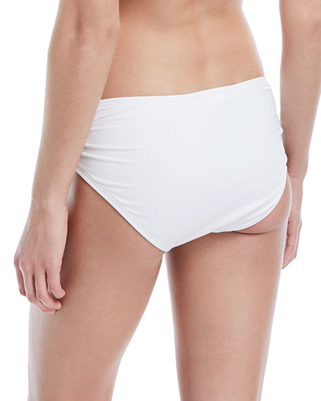 Side-Shirred Full Swim Bikini Bottoms