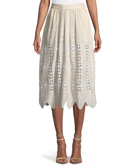 Carolyn  Vintage Geometric Eyelet Midi Skirt
