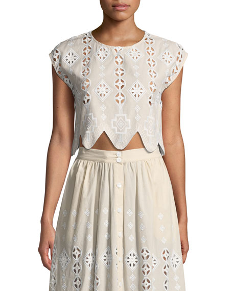 Miguelina Carolyn Geometric Eyelet Midi Skirt and Matching