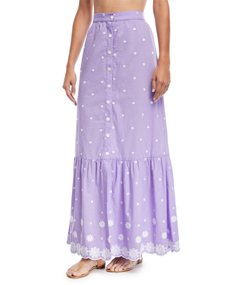 Miguelina Aiden Button-Front A-Line Daisy Cotton Embroidered Maxi