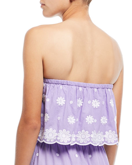 Camelia Polka-Dot Daisy-Embroidered Crop Top