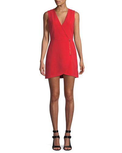 Lennon Surplice Sleeveless Side-Zip Mini Cocktail Dress