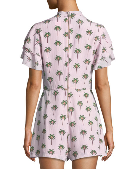 Macall Ruffle Short-Sleeve Palm-Tree Print Romper