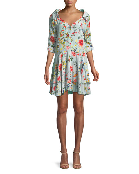 Alice + Olivia Moore Button-Down Layered Floral-Print Silk