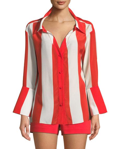 Denver Open-Neck Silk Button-Front Oversized Blouse