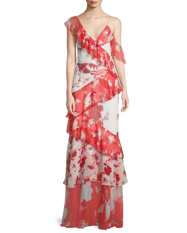 Alice + Olivia Olympia Asymmetric Silk Ruffle Maxi Dress | Neiman Marcus
