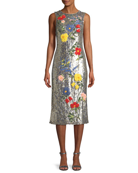 Alice + Olivia Nat Sleeveless Sequined Floral-Embroidered Sheath
