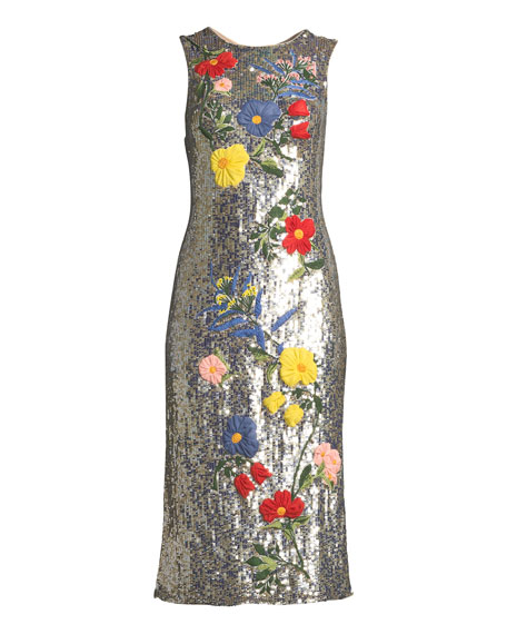 Nat Sleeveless Sequined Floral-Embroidered Sheath Cocktail Dress