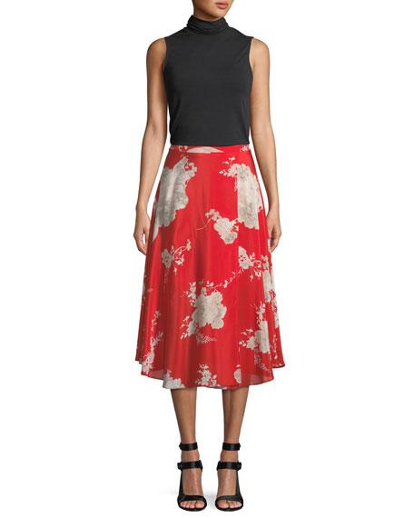 Nanette Floral-Print Mock-Wrap Midi Skirt