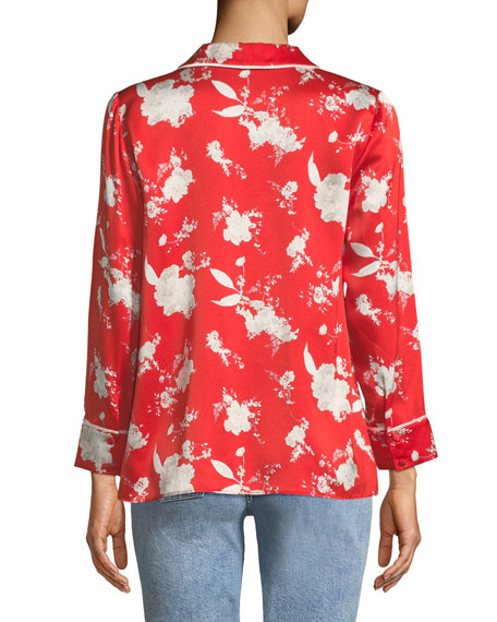 Keir Piped Silk Pajama-Style Top